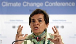 UNFCC Executive Secretary Figueres addresses a news conference in Bonn