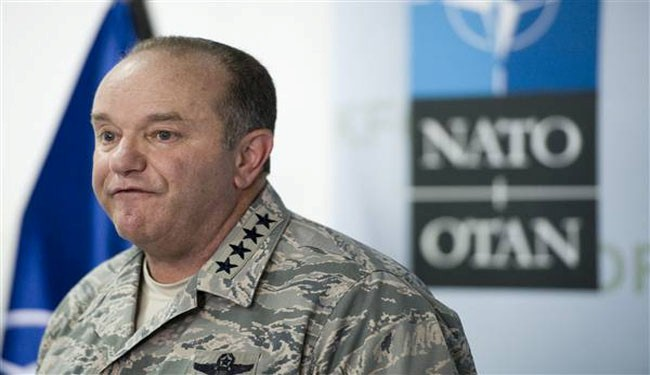 Supreme Allied Commander Europe (SACEUR) US General Philip Breedlove speaks during a press conference at the military airport near the town of Sllatina on July 30, 2014 during his visit in Kosovo.