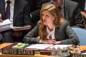 NEW YORK, NY - MARCH 03: United States Ambassador to the United Nations (UN), Samantha Power, speaks during a UN Security Council meeting on March 3, 2014 in New York City. As tensions between Russian's occupation of parts of Ukraine intensifies, the Security Council has continued to meet in an effort to find a solution. (Photo by Andrew Burton/Getty Images)